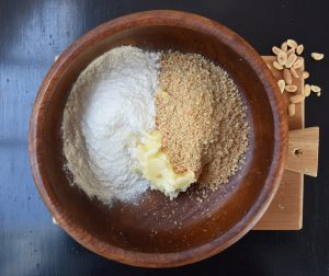 flour, sugar, butter and peanuts